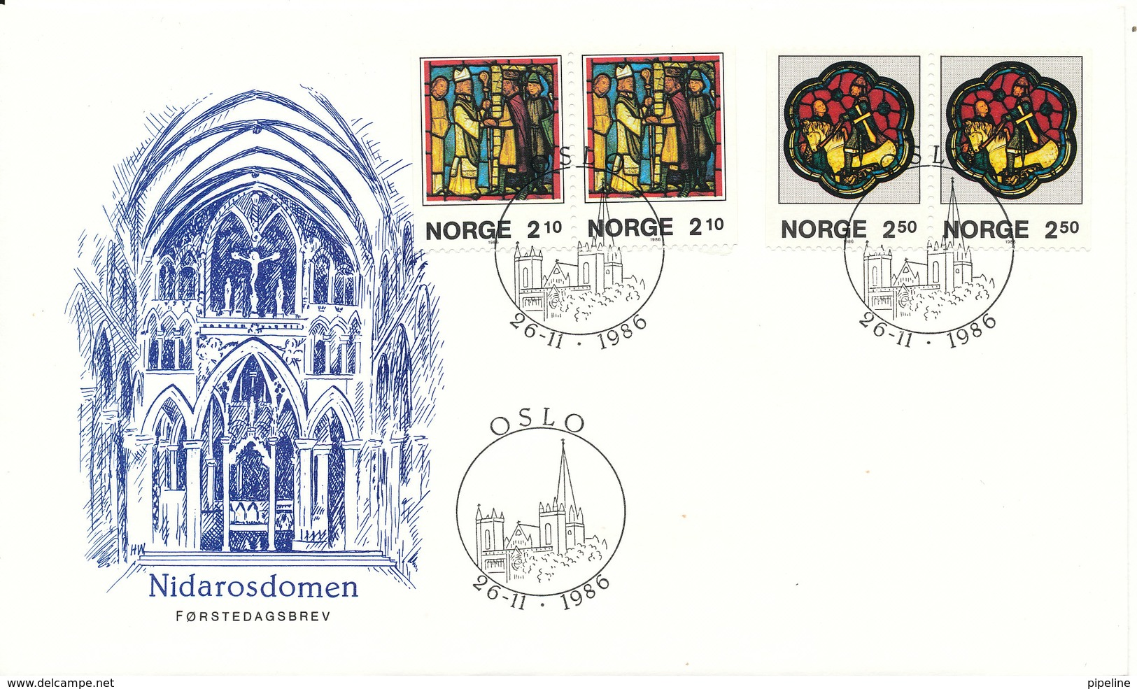Norway FDC 26-11-1986 Nidarosdomen Complete Set In 2 Pairs With Nice Cachet - FDC