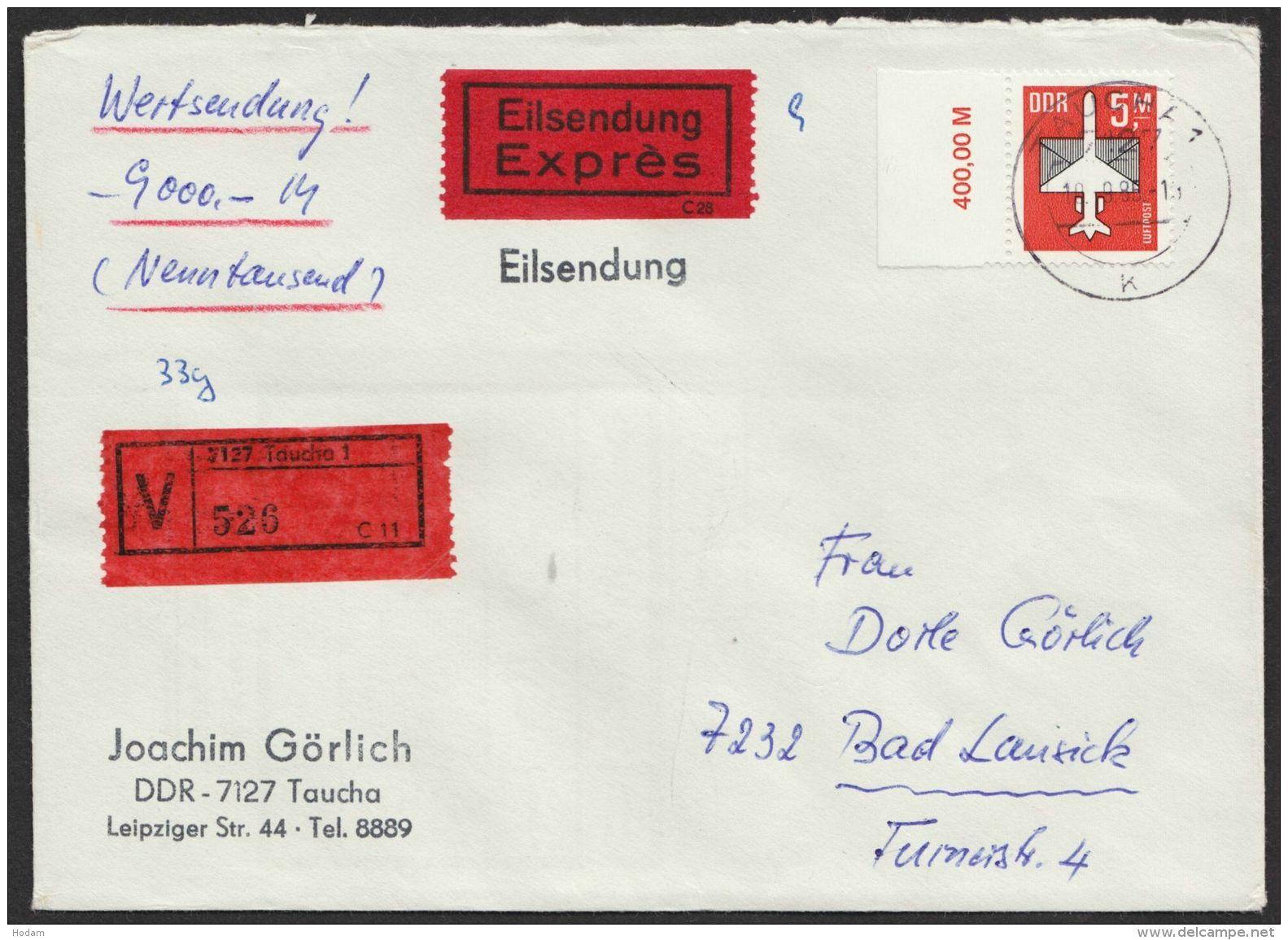 Mi-Nr. 2967, Randstück Als EF Auf Gesiegeltem Eilboten- Wertbrief Mit Ankunft - DDR