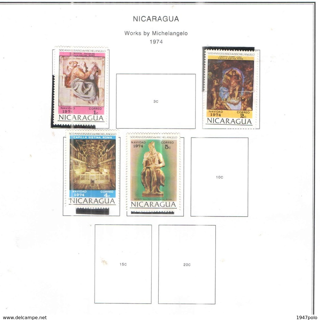 Nicaragua 1974 Opere Michelangelo Scott.954+955+957+958+ Usato/Nuovi On Scott.Album See Scans - Nicaragua