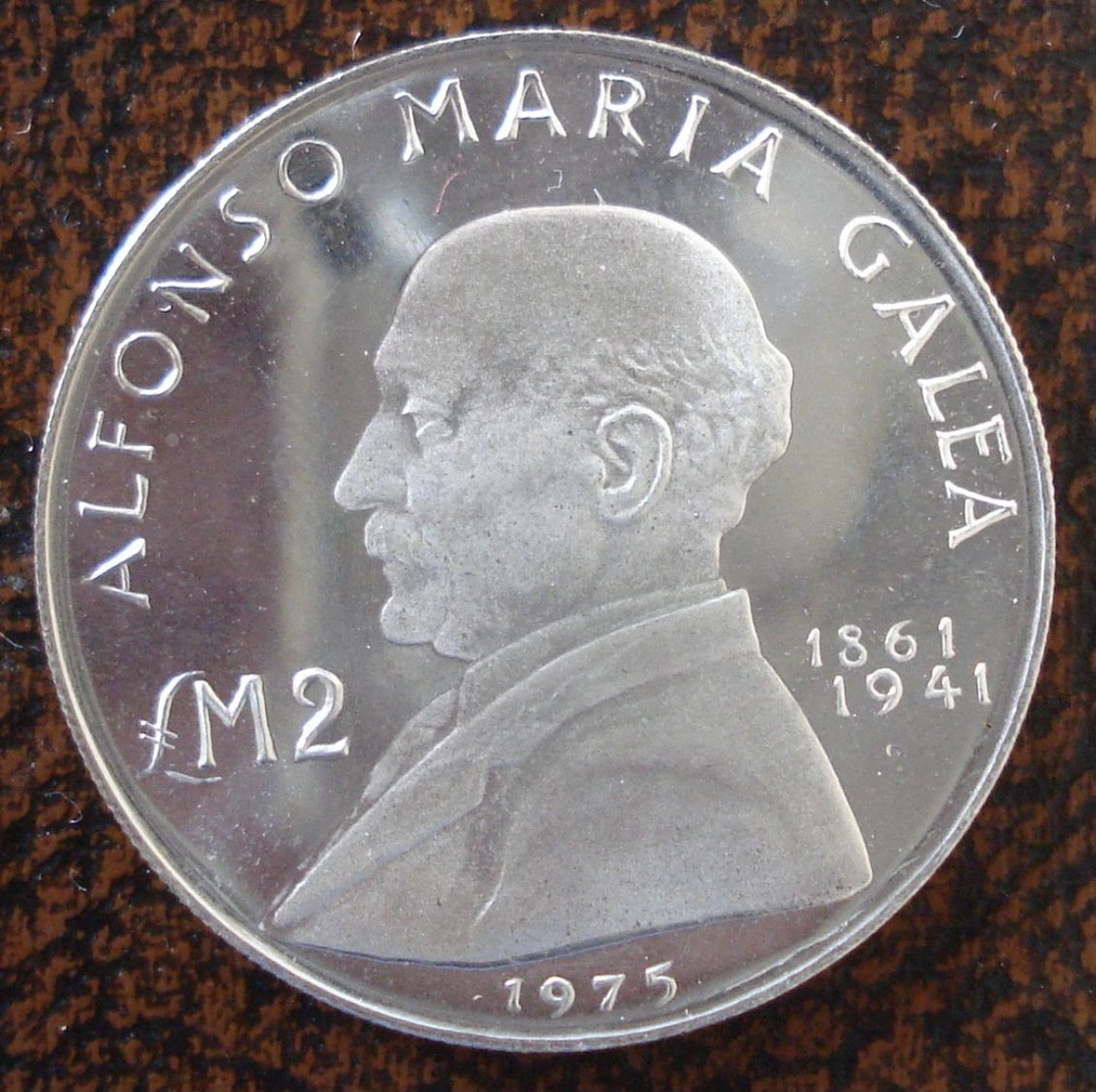 (J) MALTA: Silver 2 Pounds 1975 BUNC (2525)  GREAT!!!! - Malte