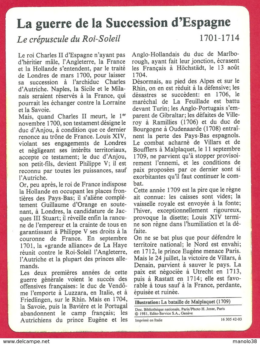 La Guerre De La Succession D'Espagne, 1701 1714, Louis XIV, Bataille De Malplaquet, Défaite Et Ruine - Histoire
