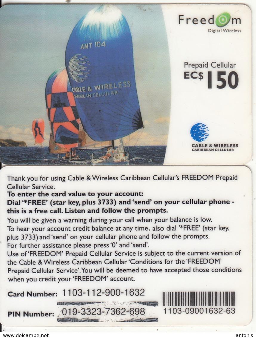 CARIBBEAN ISLANDS - Sailing, Cable & Wireless Prepaid Card EC$150, CN : 1103, Used - Altri – America
