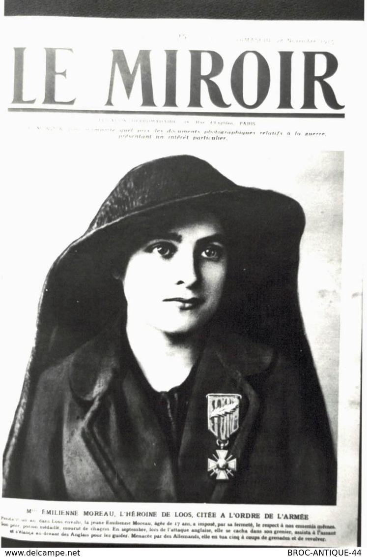 CPA N°19054 - CARTE PHOTO FORMAT CPA TIREE DU MIROIR - Mlle EMILIENNE MOREAU HEROINE DE LOOS - ARCHIVE UNIQUE - Weltkrieg 1914-18