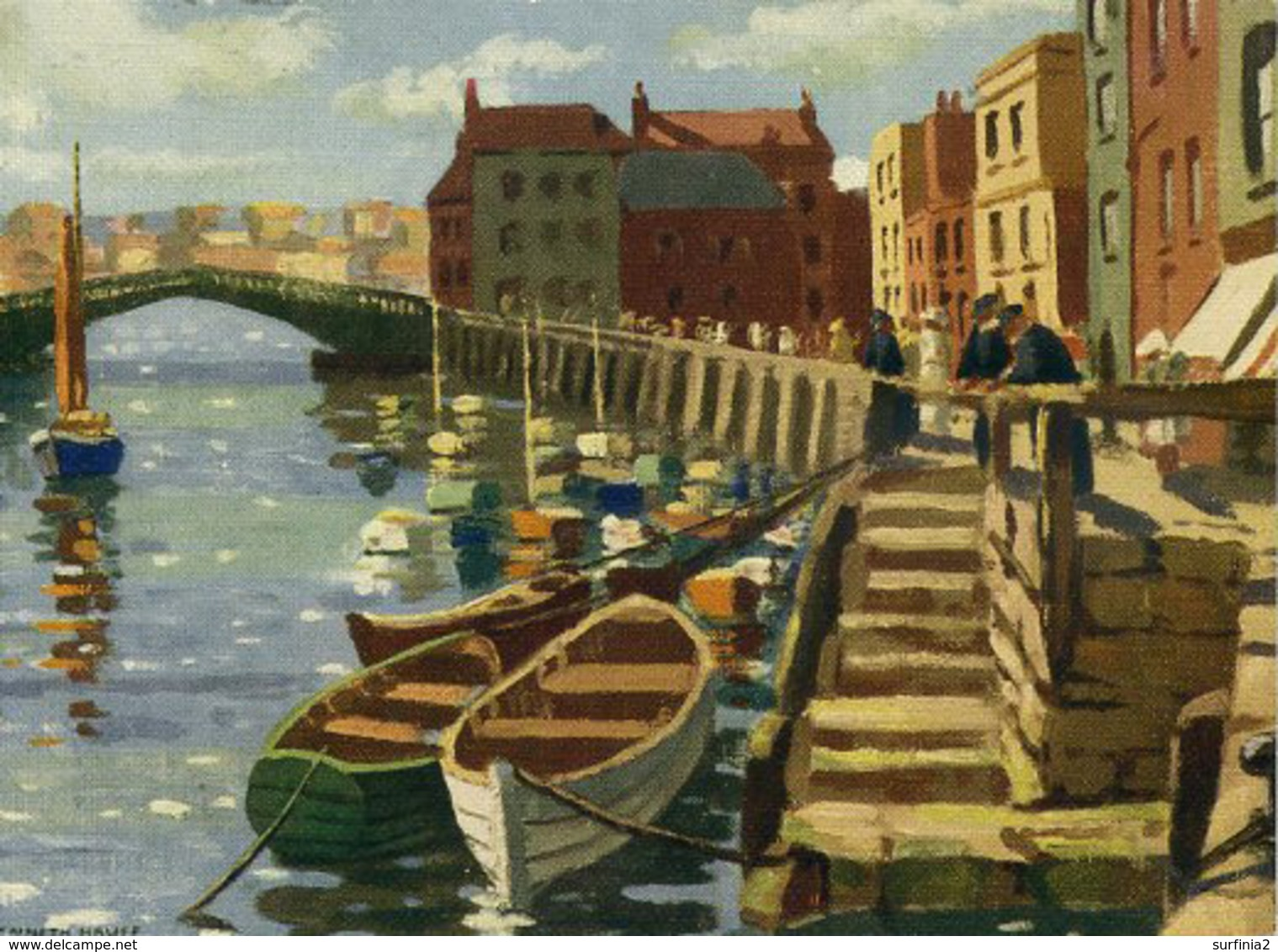 YORKS - WHITBY - 2 1950s CARDS BY KENNETH HAUFF - ART - Whitby