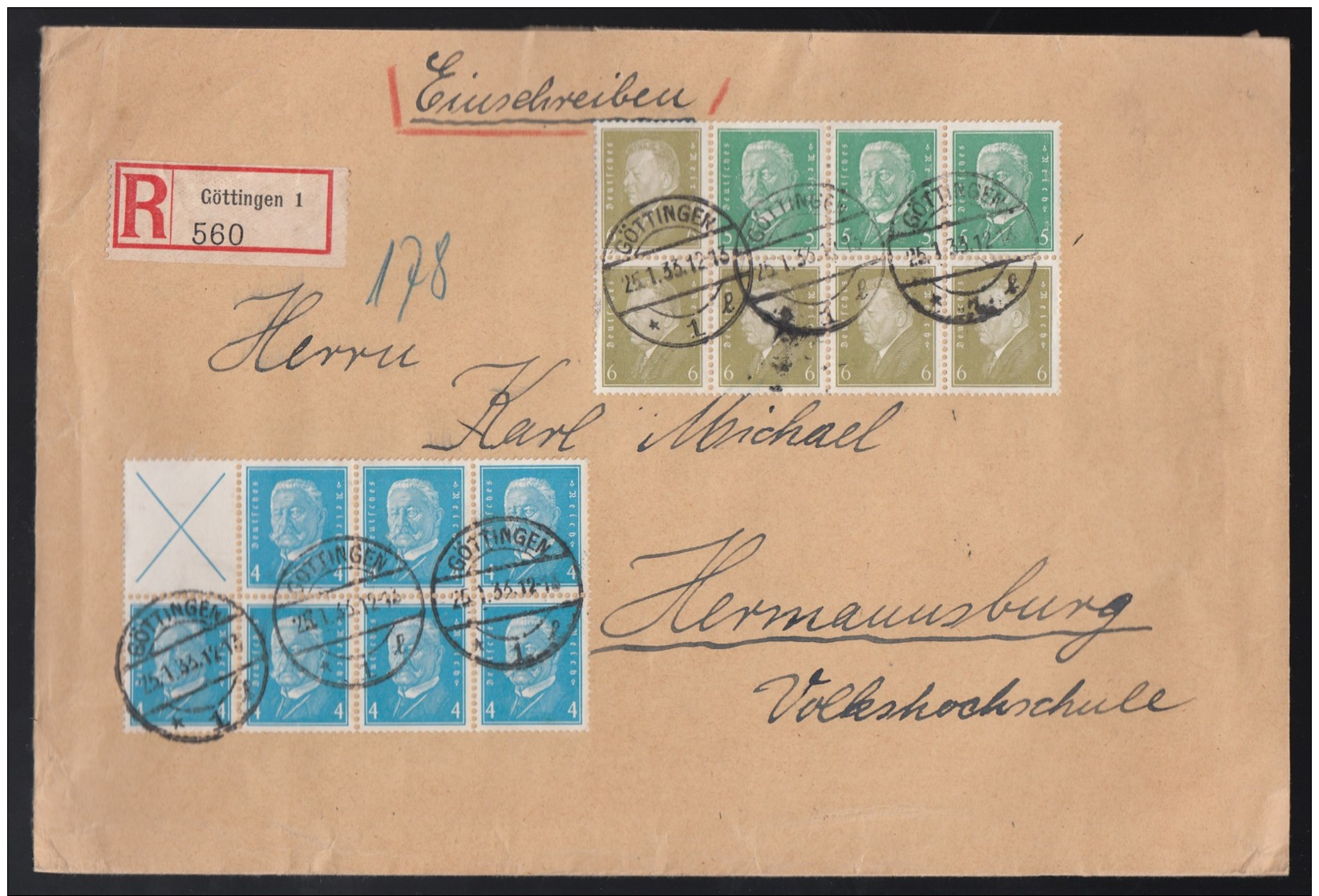 DR Einschreiben Zusammendruck ZD Aus HB 60b Und HB 61b 1933 Göttingen Nach Hermansburg Gr20 - Deutschland
