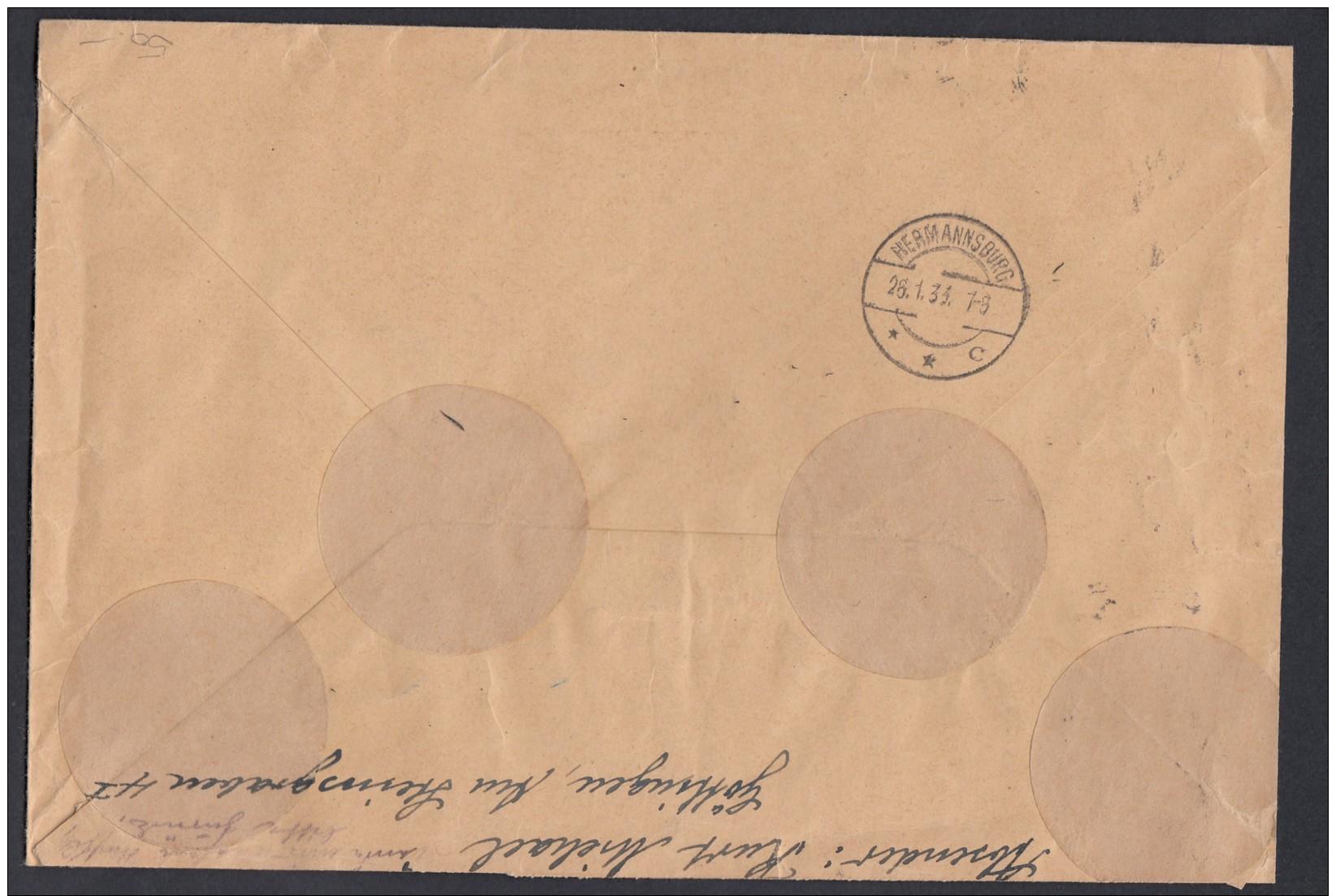 DR Einschreiben Zusammendruck ZD Aus HB 60b Und HB 61b 1933 Göttingen Nach Hermansburg Gr20 - Briefe U. Dokumente