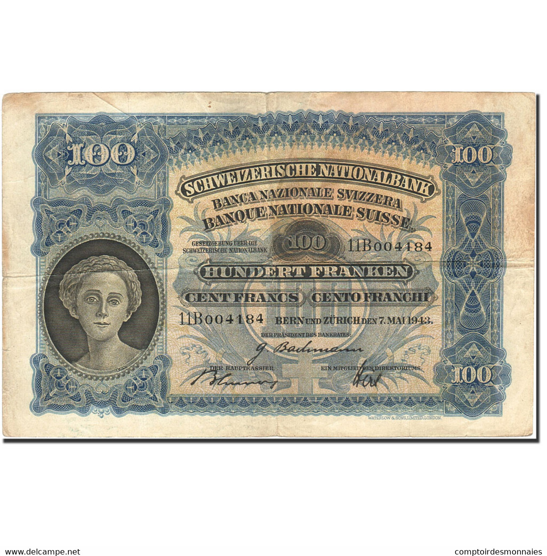Billet, Suisse, 100 Franken, 1921-1928, 1943-05-07, KM:35o, TB - Switzerland