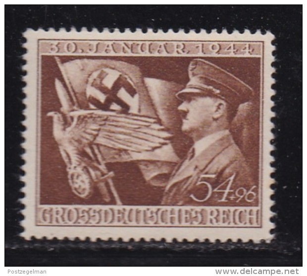 DEUTSCHES REICH, 1944, Hinged Unused Stamp(s), Hitler 11 Years In Power, MI 865, #16189 , - Unused Stamps