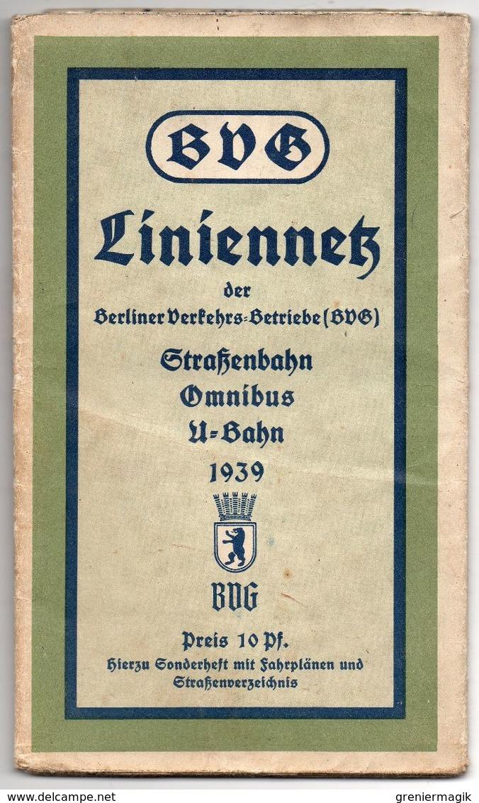 Brochure Berlin 1939 BVG - Liniennetz Berliner Verkhersbetriebe - Strassenbahn Omnibus U-Bahn - Plan - Réseau De Lignes - Europe