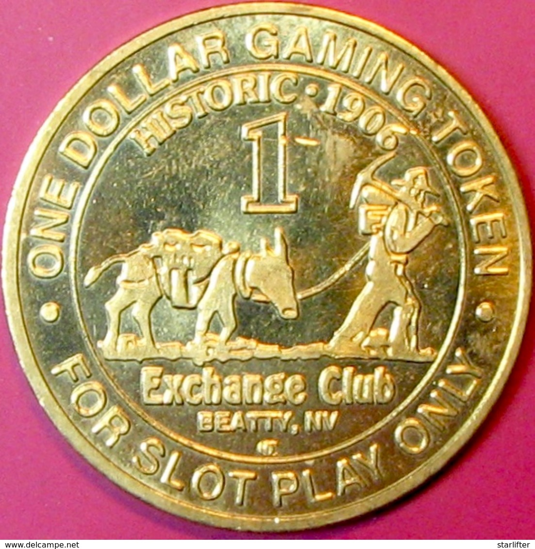 $1 Casino Token. Exchange Club, Beatty, NV. J65. - Casino