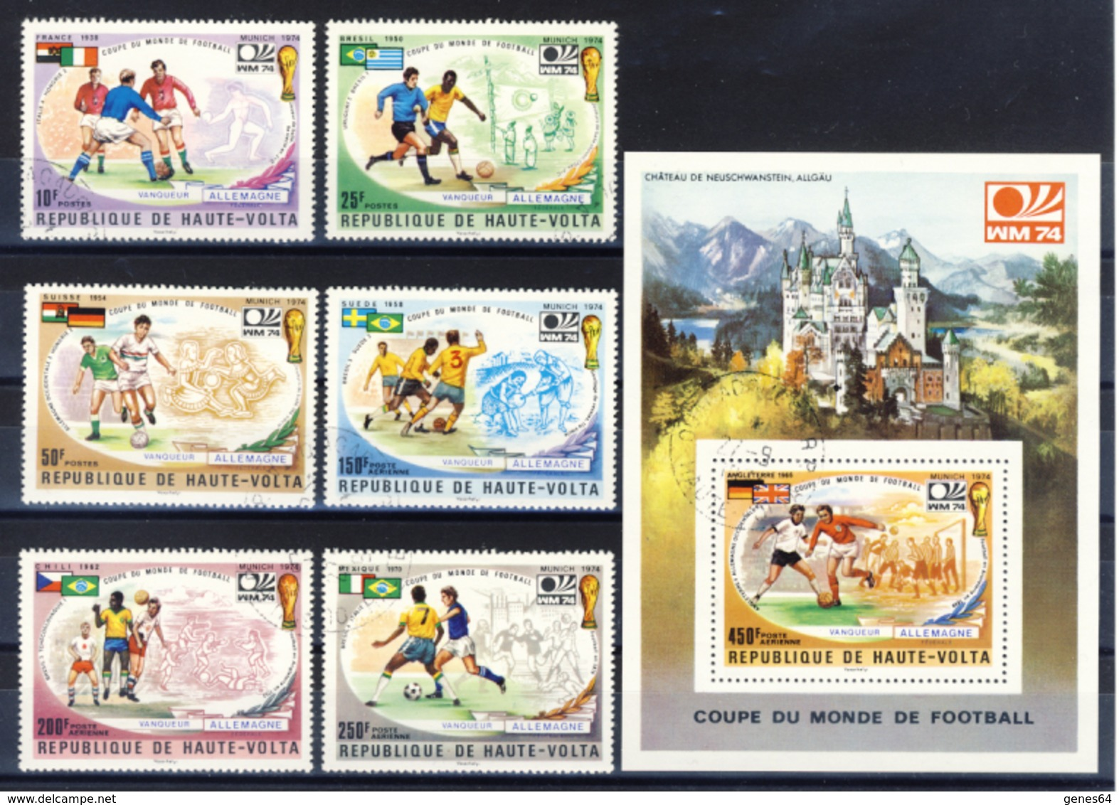 Haute-Volta (Burkina Faso) 1974 - Finalist World Cup - 6 Val. + Sheet (1 Images) - Gum MNH** Cancelled Light - Coppa Del Mondo