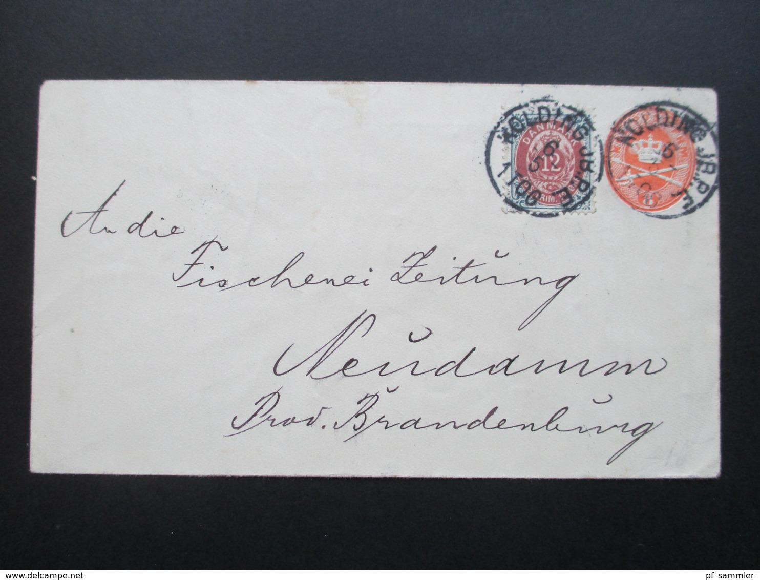 Dänemark 1898 Ganzsachenumschlag Mit Zusatzfrankatur.Kolding JB. P.E. An Die Fischerei Zeitung Neudamm Prov. Brandenburg - 1864-04 (Christian IX)