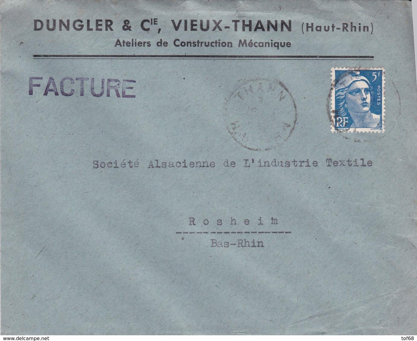 Vieux Thann Lettre à Entête 1947 Dungler & Cie Ateliers De Construction Mecanique - Marcophilie (Lettres)