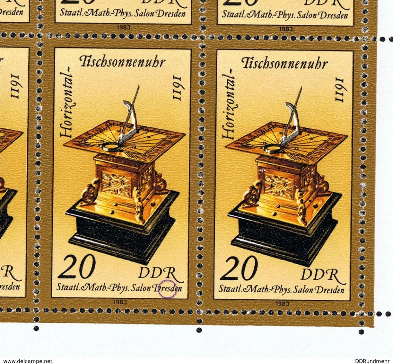 7. Juni 1983, Kostbare Sand- Und Sonnenuhren, Kleinbogen Michelkatatlognummer 2798 In Postfrisch Xx Mit Plattenfehler - DDR