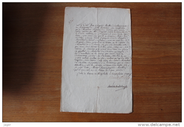 1794  Autographe Duc De Broglie   Ordre De Saint Louis Pour Un Sous Lieutennat De Hussards - Autographs