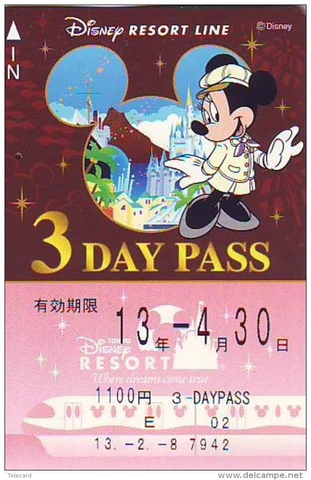 Carte Prépayée Japon * DISNEY * RESORT LINE (1584) * 1100  3-daypass  * JAPAN PREPAID CARD - Disney