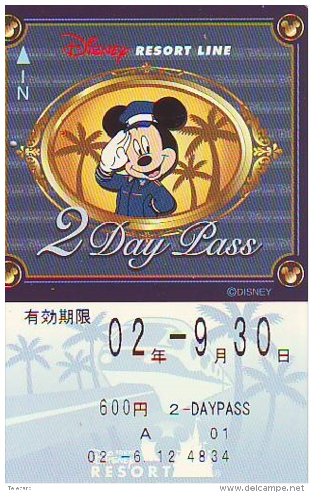 Carte Prépayée Japon * DISNEY * RESORT LINE (1597) * 600  * 2-DAY PASS * JAPAN PREPAID CARD - Disney
