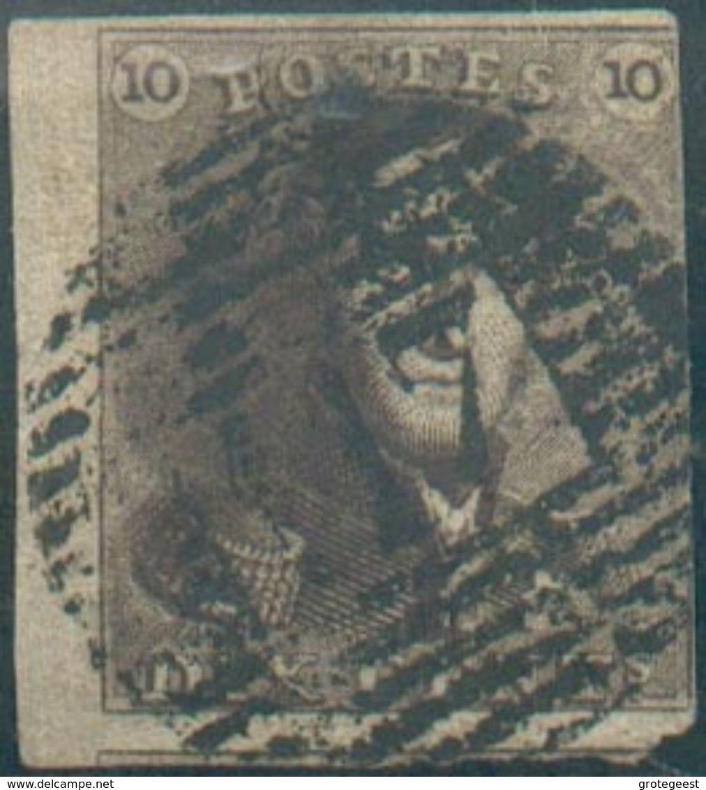 Epaulette 10 Centime Brune, Bord De Feuille Gauche, Et Voisin Obl. P.117 THUIN.  Belle Nuance - 12590 - 1849 Epaulettes