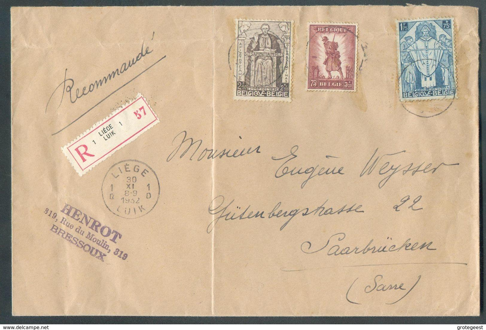 N°346/7-351 - 1Fr.75 Et 2Fr.50 CARDINAL MERCIER + 75c. INFANTERIE Obl. Sc LIEGE 1 Sur Enveloppe Recommandée Du 30-XI-193 - Belgium