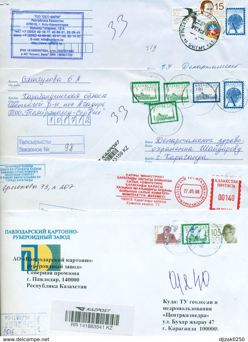 Kazakhstan.Four Registererd Envelopes Past The Mail. One Envelope Registered. - Kazakhstan