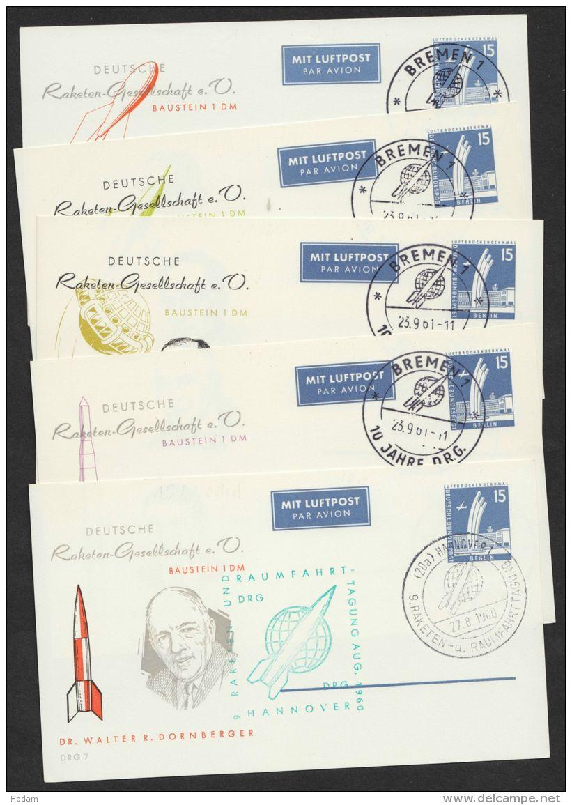 """PP 19 B 1/04 D-h, """"Dt.Raketengesellschaft"""", Bausteinkarten 7-11, Je Pass. Sst. - Berlin (West)"""