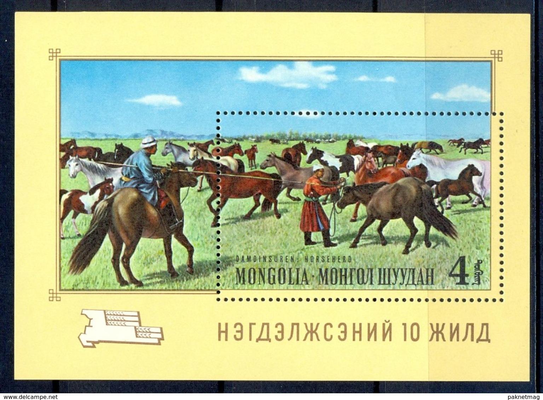 A132- Mongolia Monogolia 1965 Pferde Chevaux Horese Cavalli Neufs Miniature Sheet. - Horses