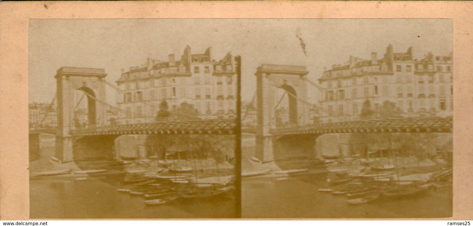 (59)  Photo Originale Sur Carton Fin 1800 Paris Pont Louis Philippe 16cm X 8.5cm (Bon Etat) - Photos Stéréoscopiques