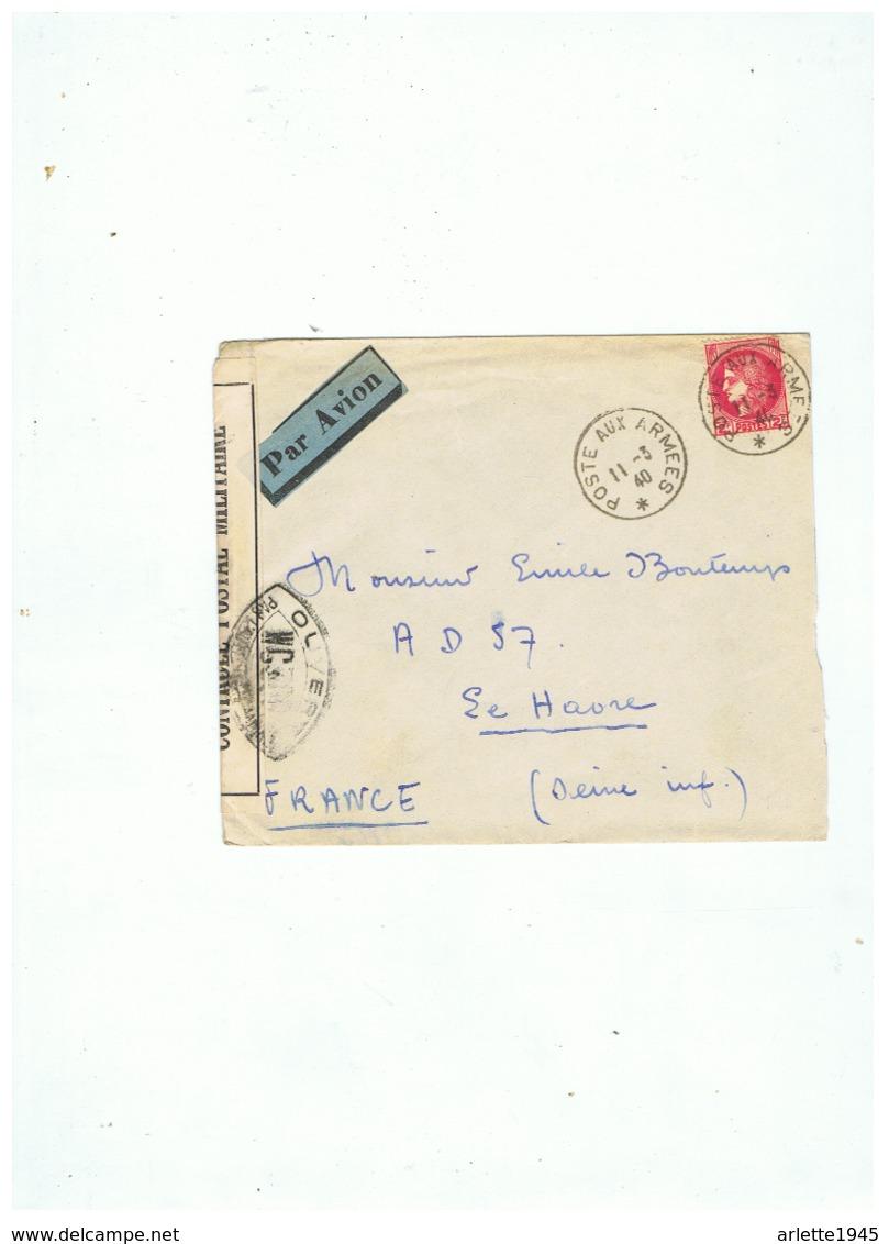 LETTRE PAR AVION OUVERT CONTROLE POSTAL MILITAIRE POUR LE HAVRE (SEINE INF)  POSTE AUX ARMEES  11  3  1940 - 1939-45