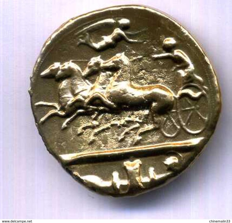 MEDAILLON SYRACUZ  ETAIN DORE REPLIQUE 35mm - Monnaies Antiques
