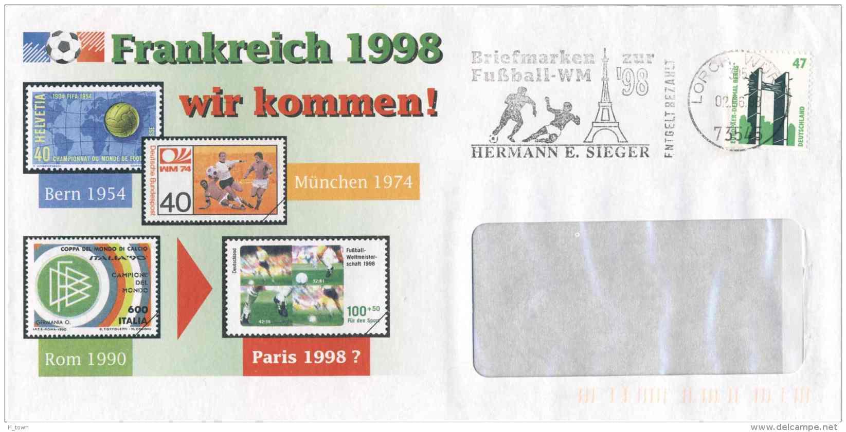 6208  Coupe Du Monde 1998, Tour Eiffel: Flamme D'Allemagne - FIFA World Cup France: Slogan Cancel From Germany - Fußball-Weltmeisterschaft