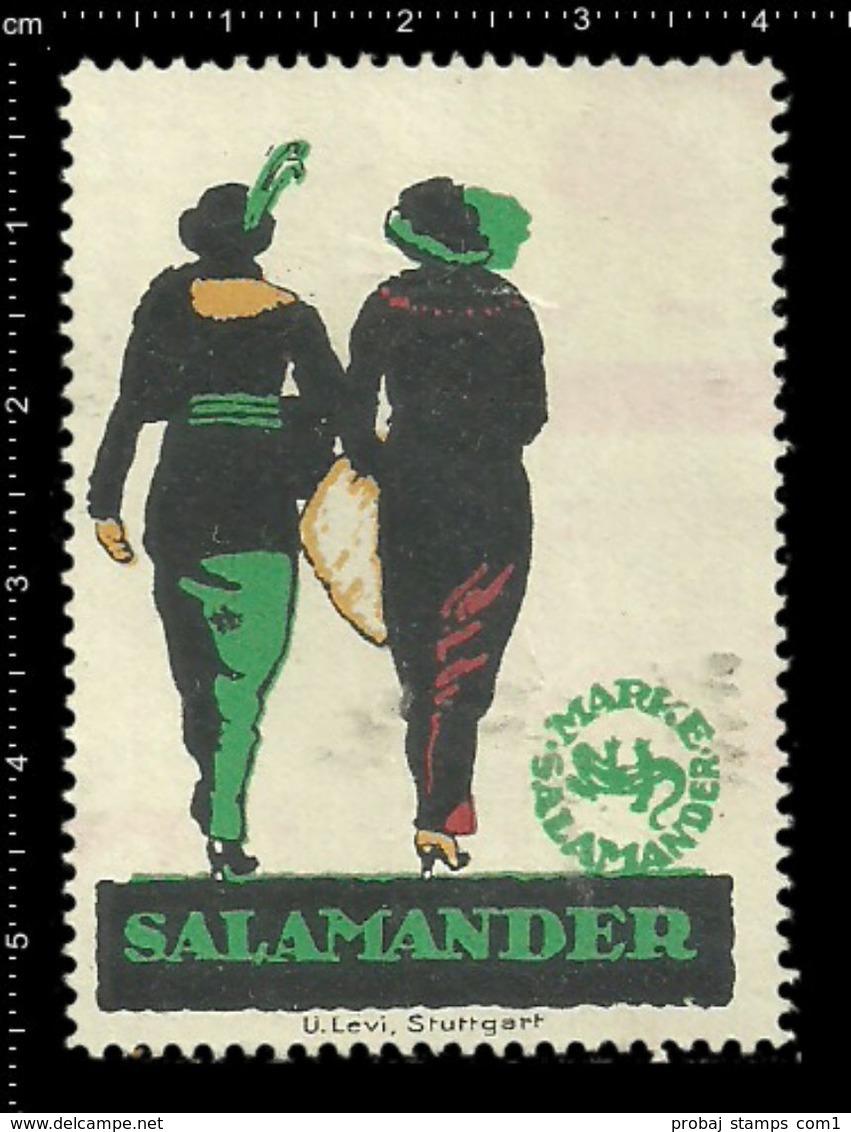 German Poster Stamp, Reklamemarke, Cinderella, Salamander Marke, Brand, Shoes, Schuhe. - Textile