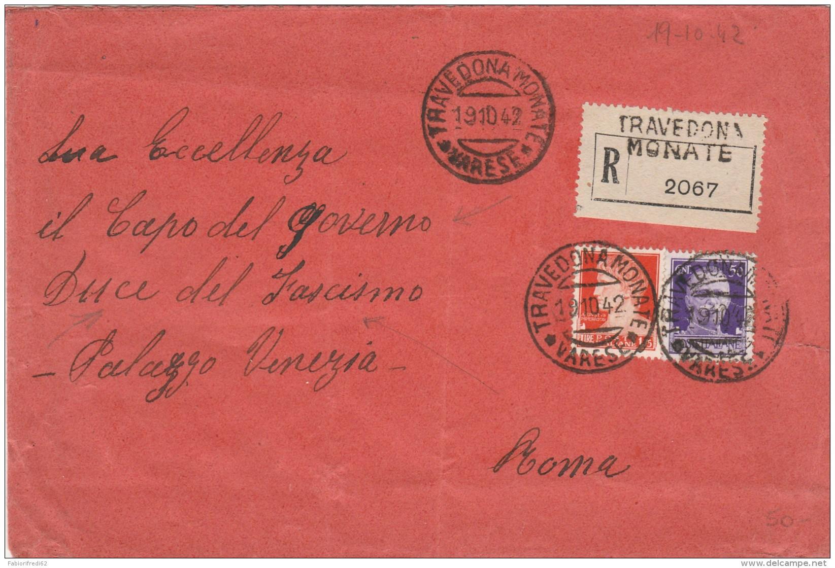 RACCOMANDATA 1942 L.1,75+0,50 TIMBRO TRAVEDONA MONATE (RX110 - Storia Postale
