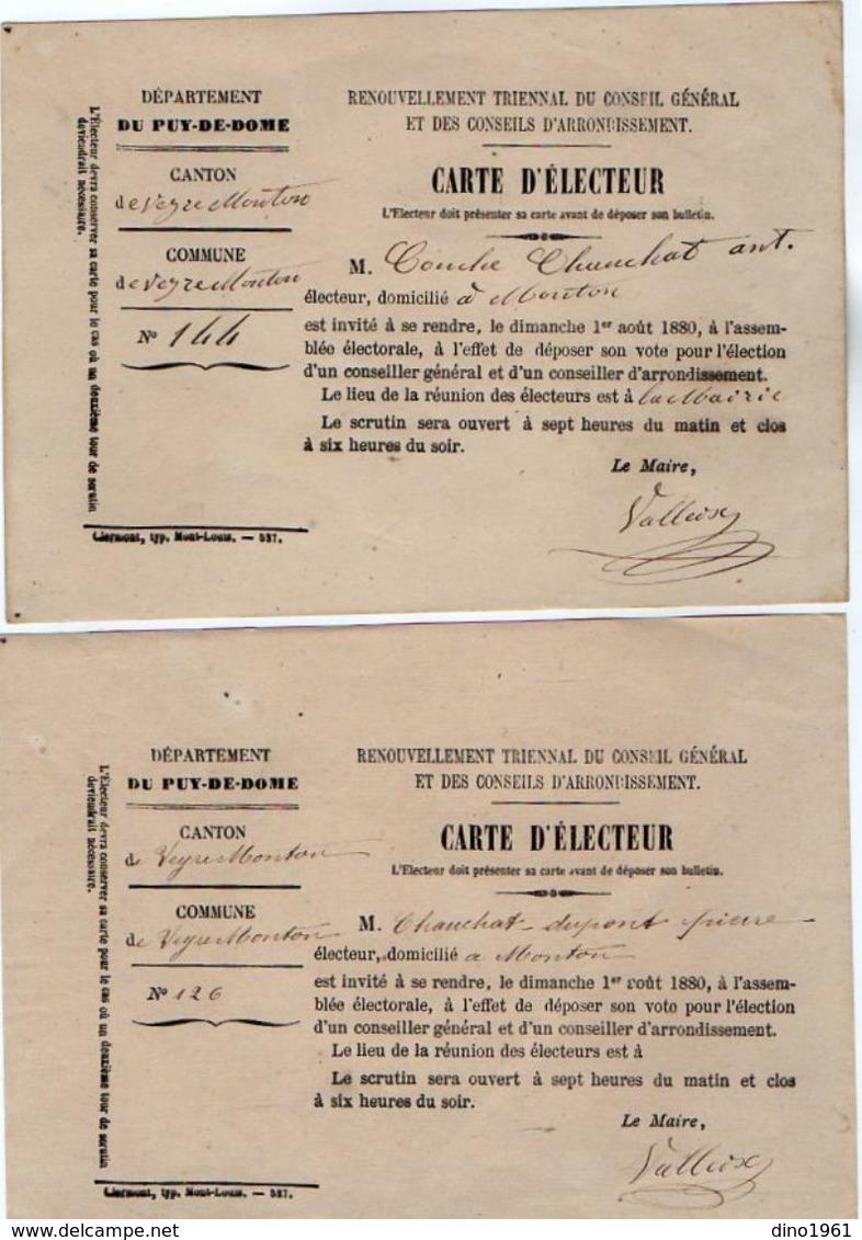 VP11.855 - 1880 - Commune De VEYRE - MONTON - Carte D'Electeur X 2 - Sin Clasificación