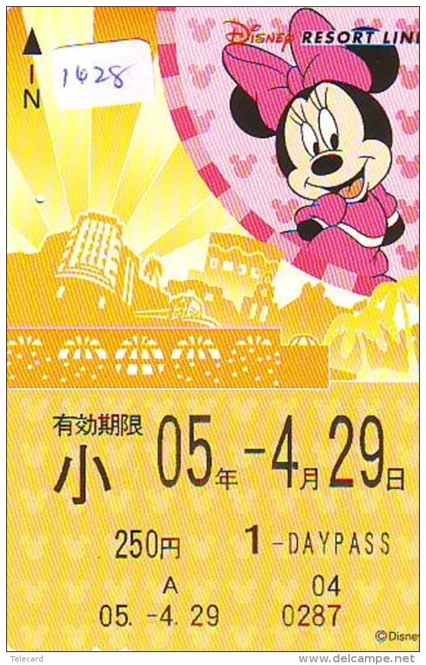Carte Prépayée Japon * DISNEY * RESORT LINE (1628) * MINNIE MOUSE * 1 DAY PASS * CHILD * 250  YEN * JAPAN PREPAID CARD - Disney