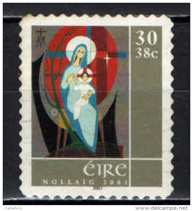 IRLANDA - 2001 - NATALE: MADONNA CON BAMBINO - USATO - 1949-... Repubblica D'Irlanda