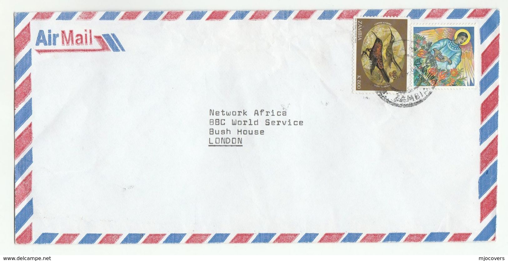 Air Mail  ZAMBIA COVER Stamps CHRISTMAS, SUNBIRD Bird Birds Religion - Zambia (1965-...)