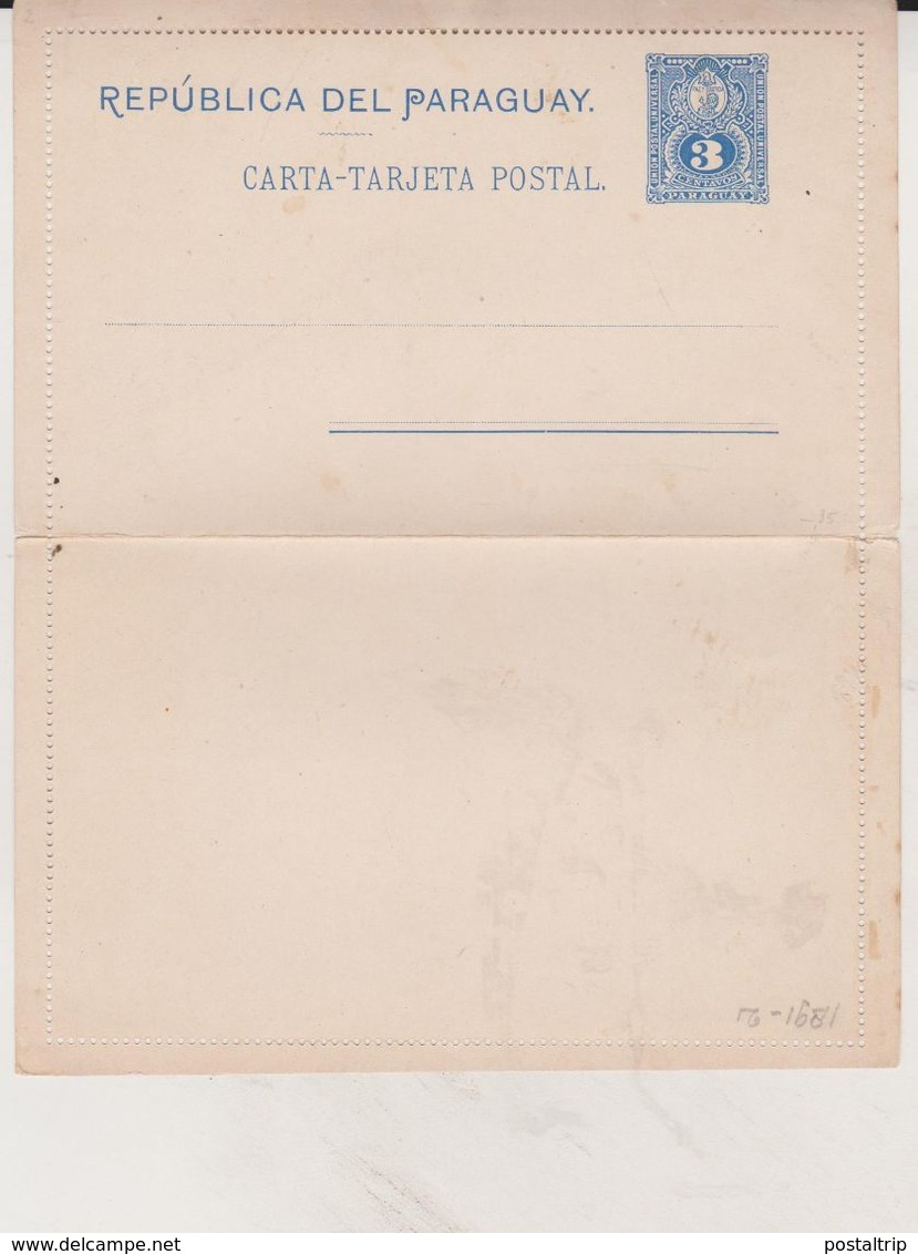 SOBRE CARTA TARJETA POSTAL PARAGUAY 3 CENTAVOS   CARTAS Tarjeta Postal  Intero Postale - Entier Postal - Paraguay