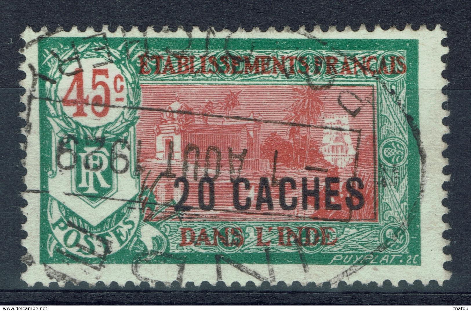 French India, Hindu Temple, Overprint, 20ca/45c., 1927, VFU Superb Postmark From Pondicherry - India (1892-1954)