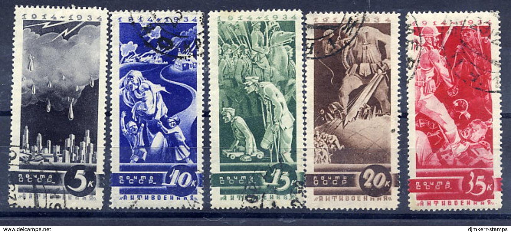 SOVIET UNION 1935 Anti-war Propaganda Set Used.  Michel 494-98 - Used Stamps