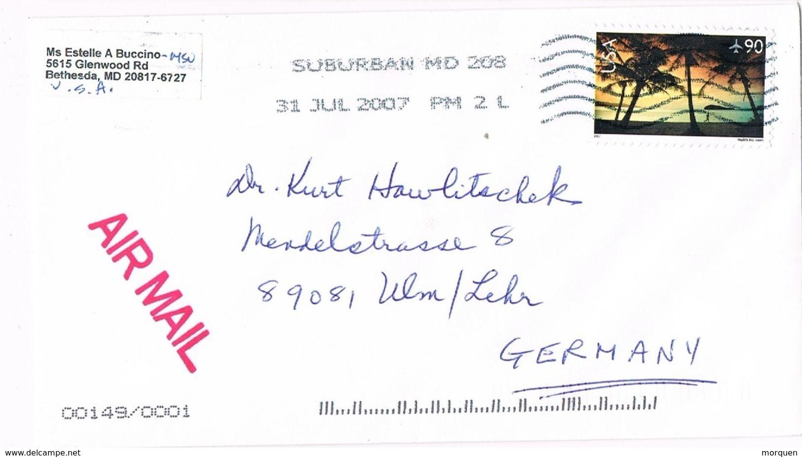 27515. Carta Aerea BETHESDA (MD) 2007. Fechador SUBURBAN - Etats-Unis