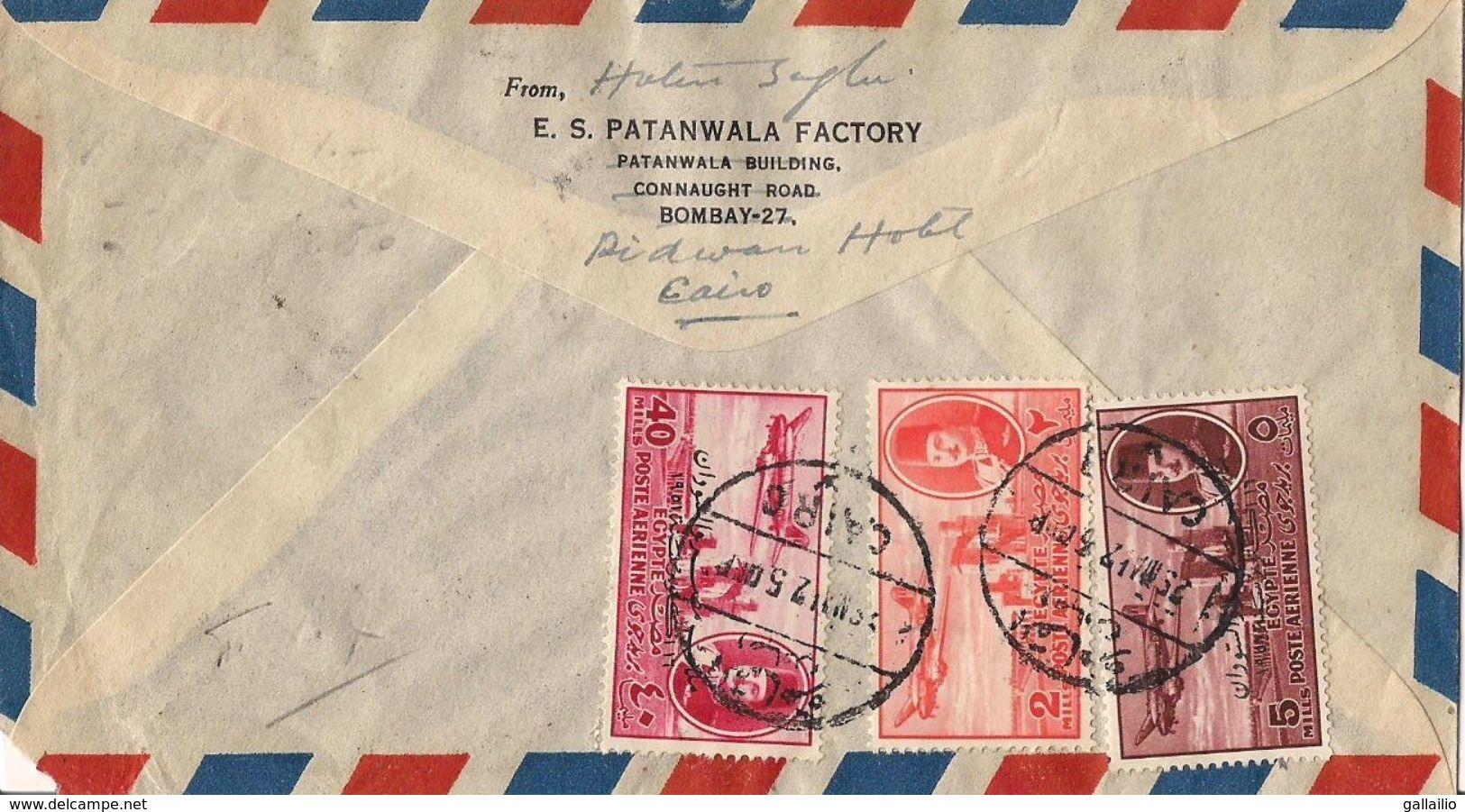 MARCOPHILIE LETTRE PAR AVION EGYPTE CAD LE CAIRE DE 1925 TP NO 29A 31A ET 37A YT - Poste Aérienne