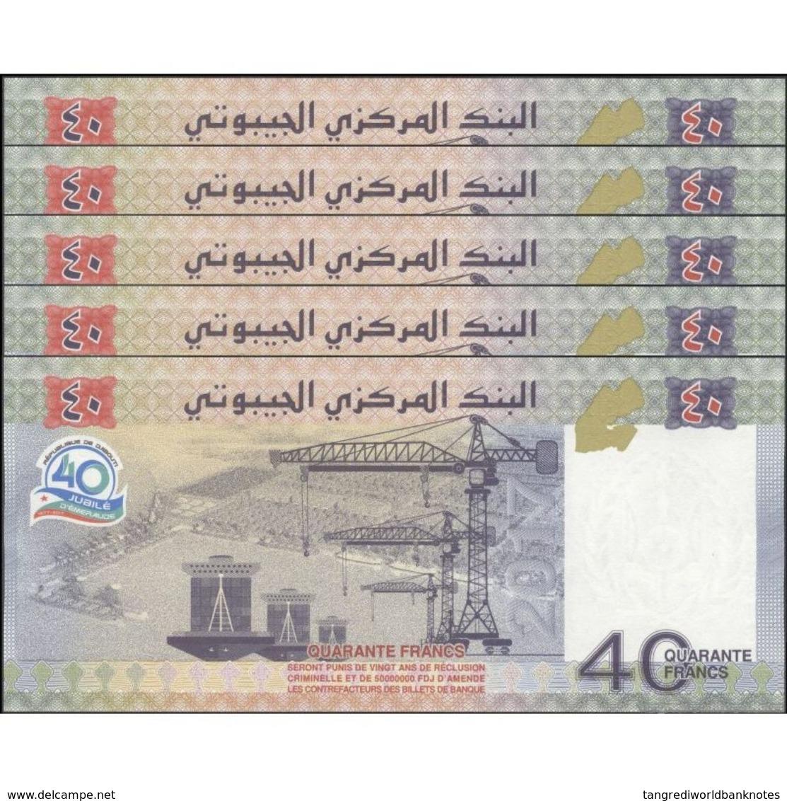 TWN - DJIBOUTI NEW - 40 Francs 2017 DEALERS LOT X 5 UNC - Prefix AB Or DJ - Djibouti