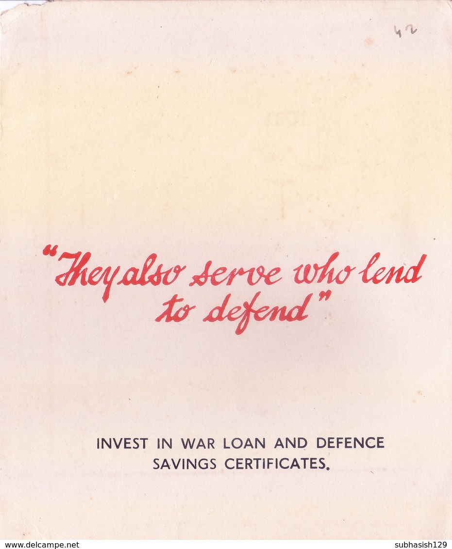 BRITISH INDIA : FUND RAISING GREETINGS CARD FOR INDIAN TROOPS WITH SLOGAN : WRITTEN TO KING & QUEEN OF DEWAS JUNIOR - Documents