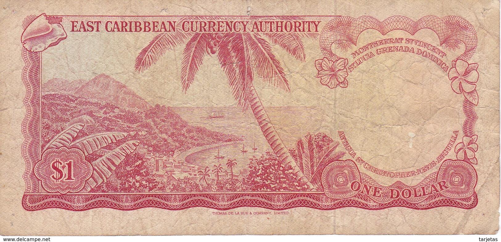 BILLETE DE EAST CARIBBEAN DE 1 DOLLAR DEL AÑO 1965  (BANKNOTE) - Caribes Orientales