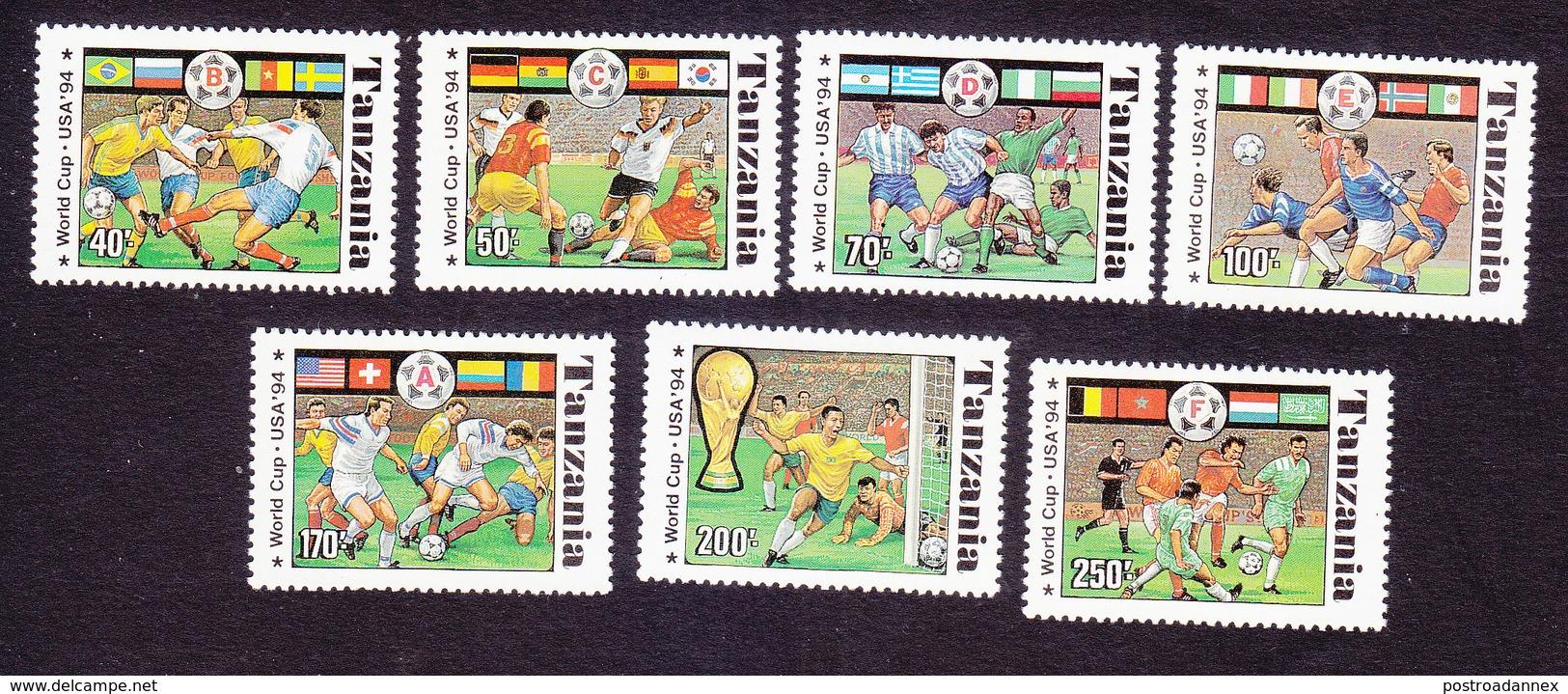 Tanzania, Scott #1174A-1174G, Mint Hinged, Soccer, Issued 1994 - Tanzania (1964-...)