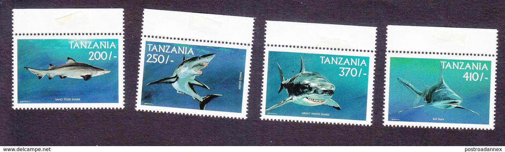 Tanzania, Scott #1881-1884, Mint Never Hinged, Sharks, Issued 1999 - Tanzania (1964-...)