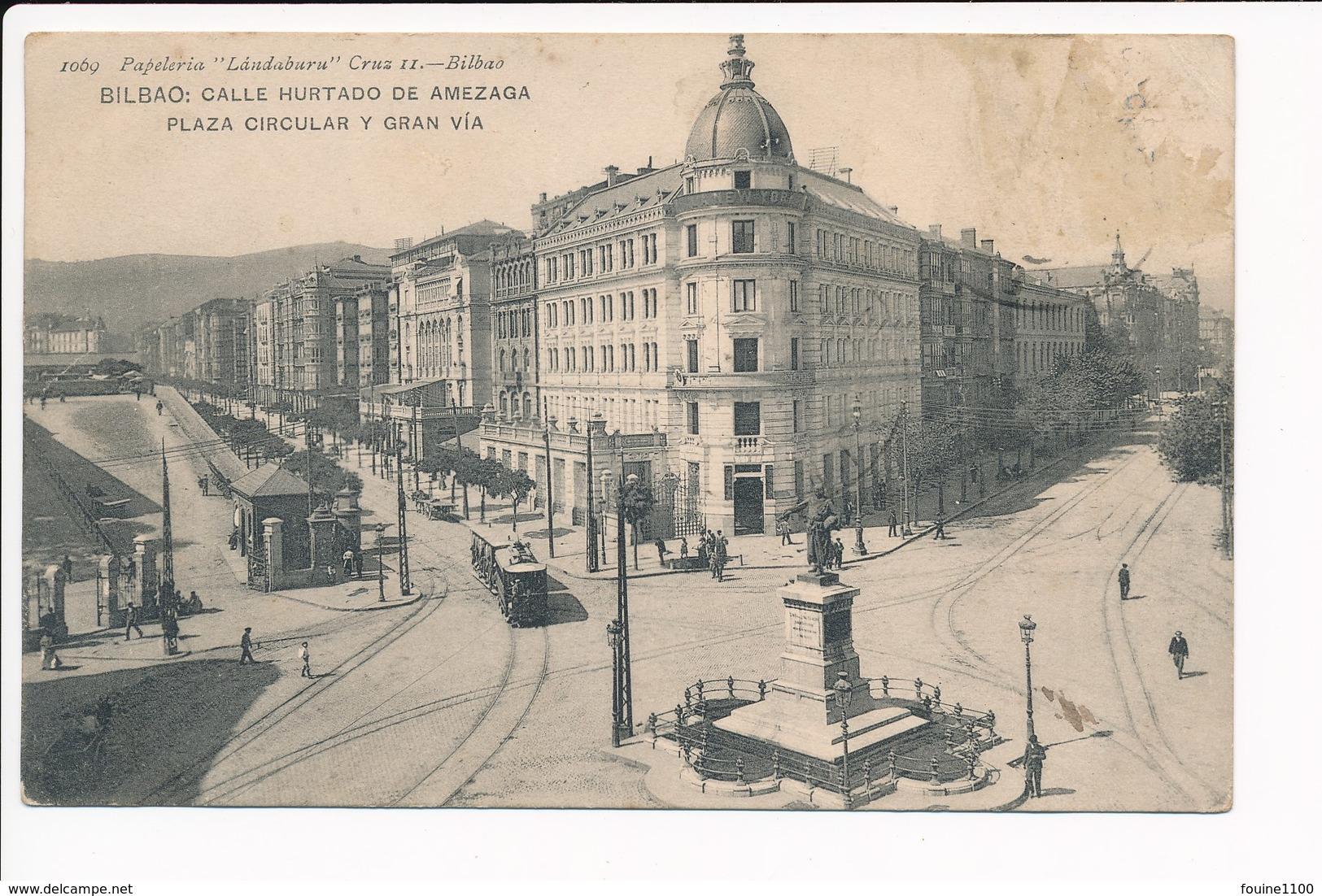 Carte De BILBAO Calle Hurtado De Amezaga Plaza Circular Y Gran Via ( Tramway ) ( Recto Verso ) - Vizcaya (Bilbao)