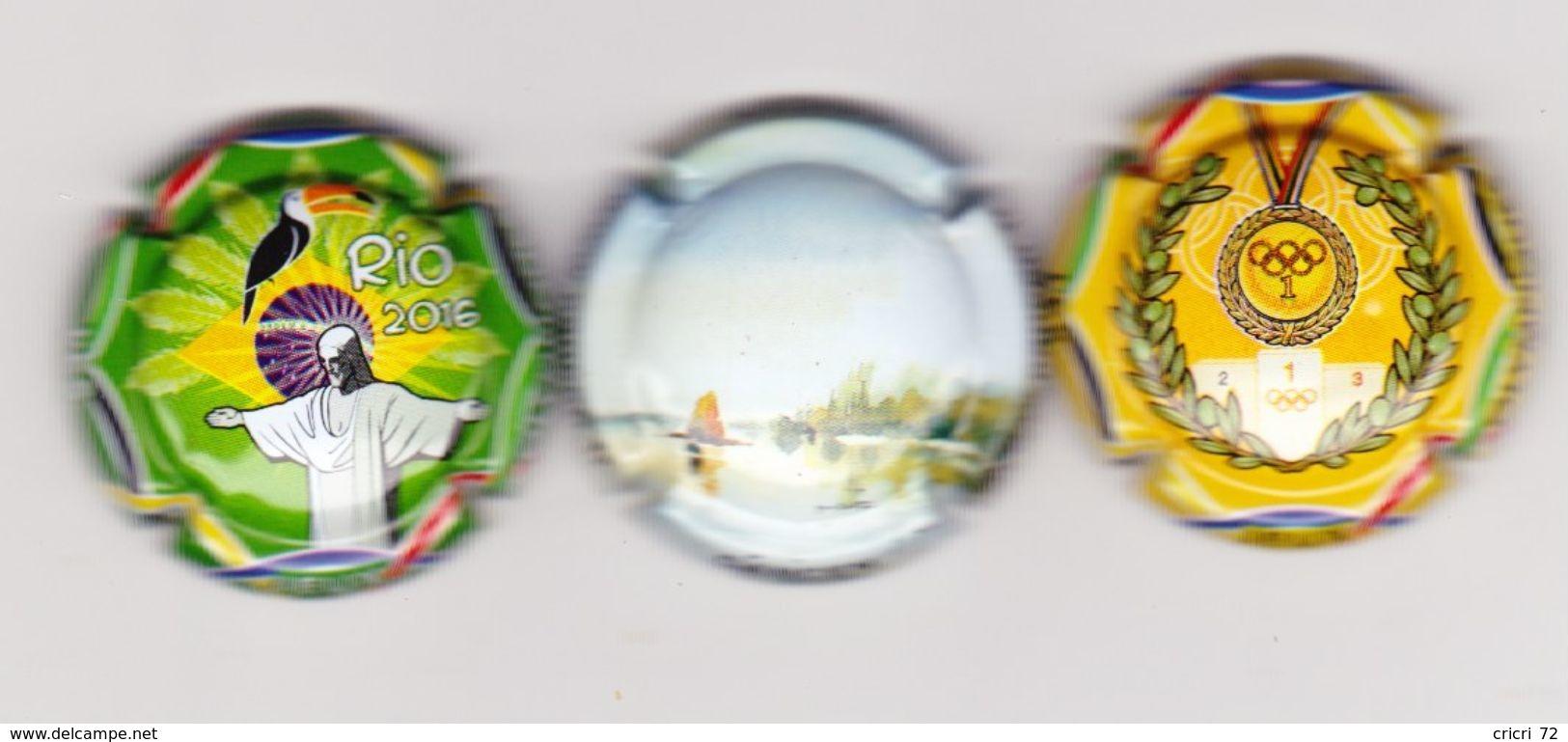 3 Capsules Muselets 1 Vouvray Cancen Val De Loire Avec URL  2 Vouvray Jeux Olympiques - Non Classés