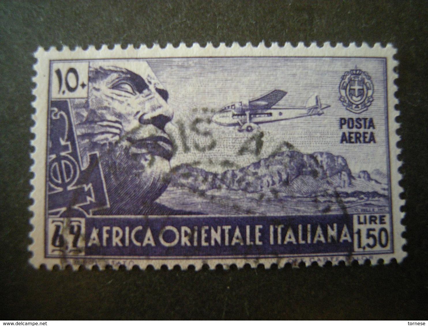 AFRICA ORIENT. ITALIANA - 1938, Posta Aerea, Sass N. A6, Lire 1,50, Usato - Italienisch Ost-Afrika