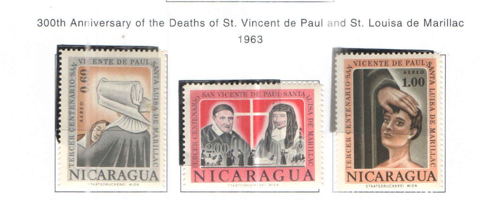 Nicaragua PA 1963  300 Ann.Morte S.Paolo E Luisa  Scott.C516/518+ NuoviUsed  See Scans On Scott.Album+ - Nicaragua